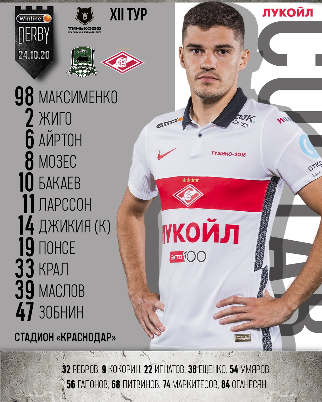 Состав «Спартака» на матч 12-го тура РПЛ с «Краснодаром»